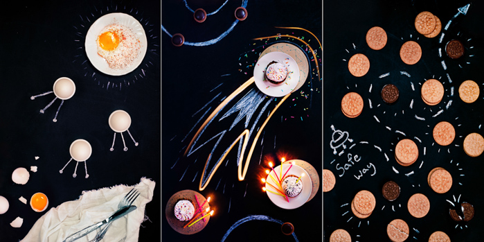 Overhead still life photography ideas triptych of fun food photography on dark background with chalk drawings