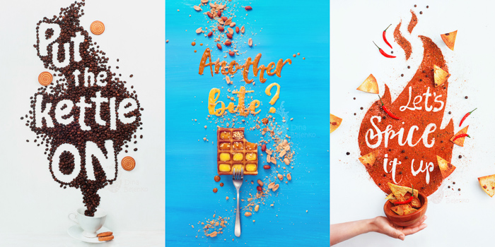 Three photo still life photography ideas grid combining food photography and text