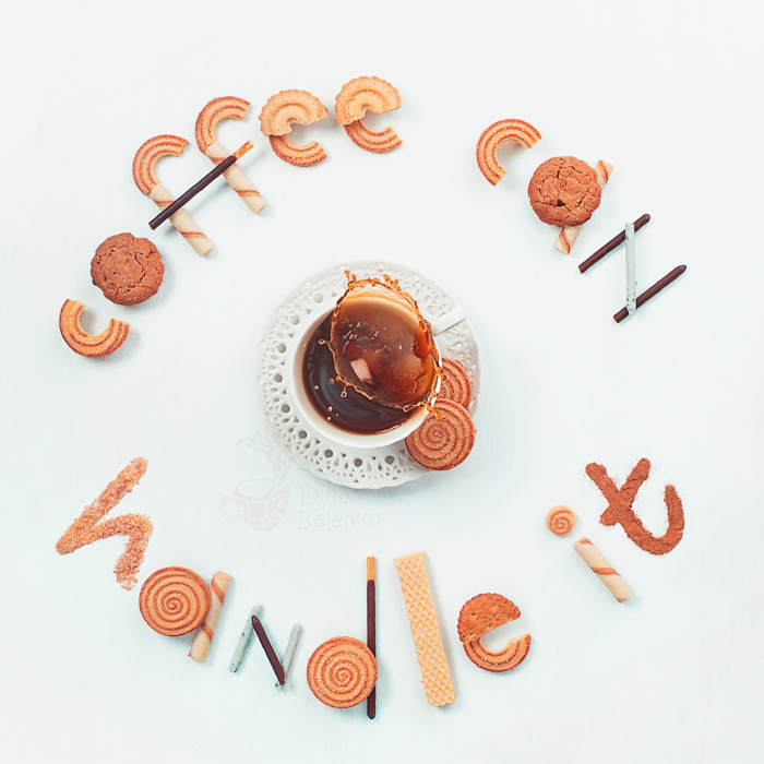 Cool still life photography ideas arrangement of biscuits spelling