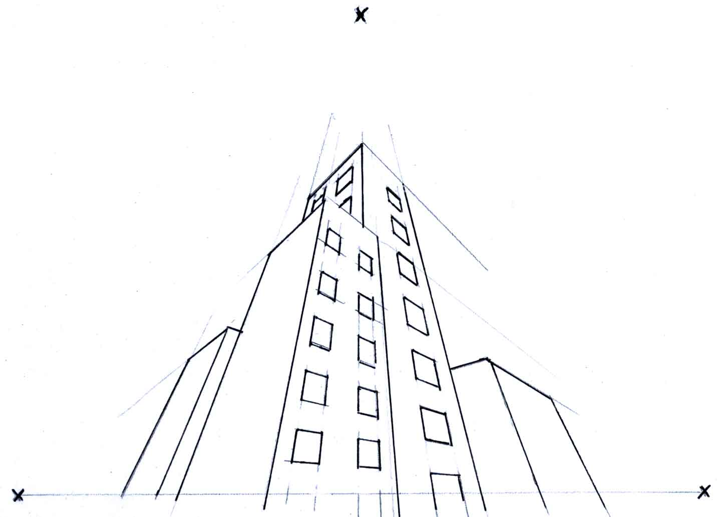 Online Perspective Drawing Lesson: How To Draw Buildings Using Three Point Perspective