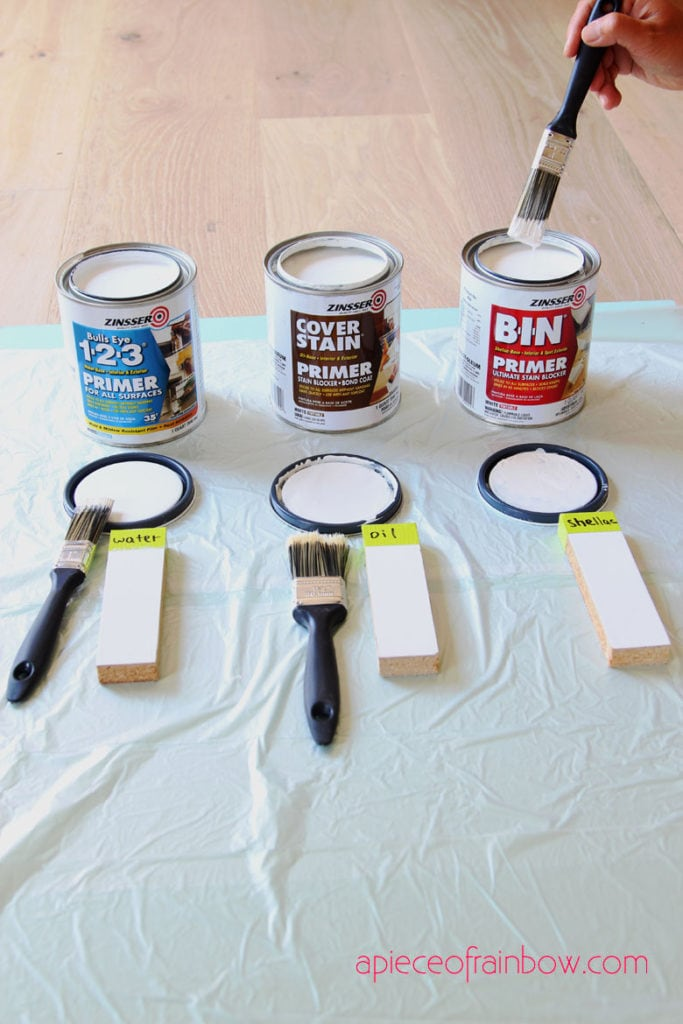 apply shellac based paint primer, water based latex primer, and oil based primer to laminate furniture mdf pieces